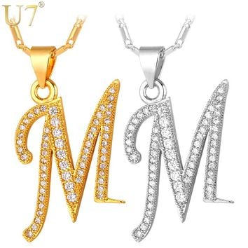 U7 Capital Initial M Letter Necklace For Women Silver/Gold Color Alphabet Pendant & Chain Name Jewelry Gift for Her P706