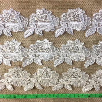 2 Yard Lot, Corded, Beaded, and Sequined Flower Trim Lace on Organza, 3""
