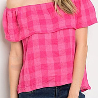 Check You Later Top | Bright Pink