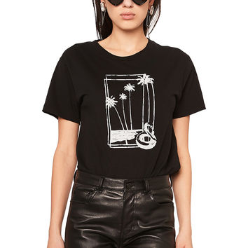Saint Laurent Souvenir Flamingo Graphic Tee in Black & Natural | FWRD