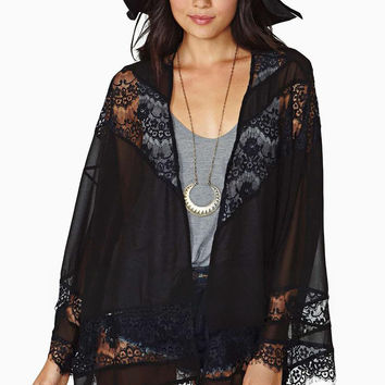 Summer Lady Floral Kimono Cardigan Hollow Chiffon Lace Girl Thin Loose Spliced Fringe Tassel Top Vintage Ruffle