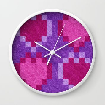 Pink Purple PIxel Hearts Wall Clock by Likelikes | Society6