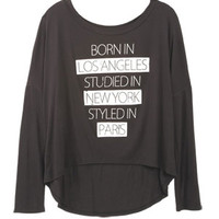 Born in Los Angeles Long-Sleeve Top - Black