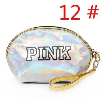 Victoria Pink Women fashion new letter print shopping reflective laser small handbag wallet cosmetic bag