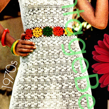 Dress CROCHET Pattern Vintage 70s Flowered Sun Dress Crochet Pattern Flowers Crochet Pattern Beach Cover Up Instant Download PDF Pattern