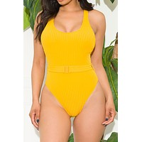 Tropic Point One Piece Swimsuit Yellow Mustard