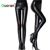 Sarvik 2016 Spring  Women High Waist Leather Pants Stretch Skinny Ladies Sexy PU Leather Trousers Female Pencil Pants Plus Size