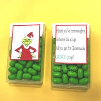CHRISTMAS GRINCH POOP,label,sticker,candy,Tic Tacs,favor