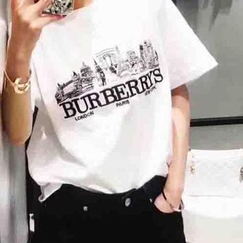 Burberry Fashion Blue White Big Logo House Print Tee Shirt Top