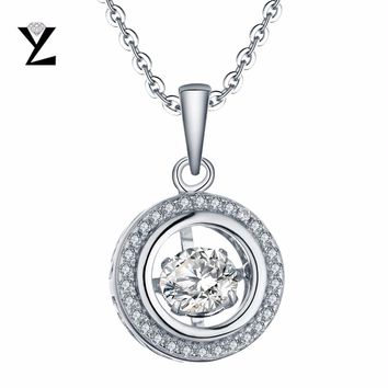 YL Dancing Topaz 925 Sterling Silver Engagement Wedding Fashion Necklaces for Women 2017 with Round-Cut Natural Stone Necklace