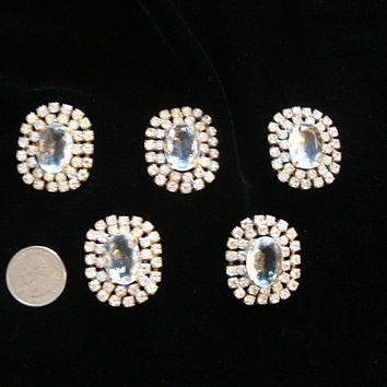 Vintage Clear Czech Crystal Rhinestones Large Buttons Metal Shank Set of 5