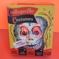 Vintage Collegeville Halloween Costume, 50's Ghostie Skeleton Costume, Medium Sized Child's Costume, Glow In The  Dark