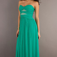 Long Strapless Ruched Dress by Max and Cleo