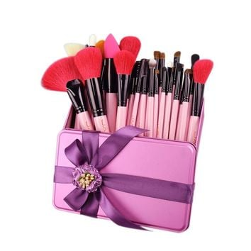 32 PC Pink Makeup Brush Kit