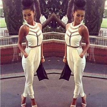 2014 fashion Women Ladies Evening Sexy Party  Jumpsuit Jumpsuits material updated white black = 5617105729
