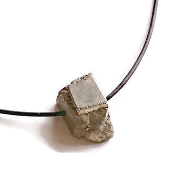 On Sale Pyrite Necklace, Minimalist Necklace, Black Leather Choker, Rustic Necklace, Leather and Pyrite Necklace,Free Shipping,