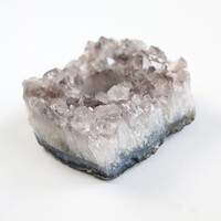 """Natural Amethyst Mineral Candle Holder - 4"""" Wide"""