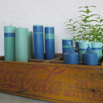Cool mint and navy blue soy unscented pillar candles, a dozen assorted soy wedding candles,