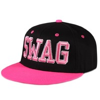 City Hunter Swag Cotton Neon Snapback Caps - Black/neon Pink