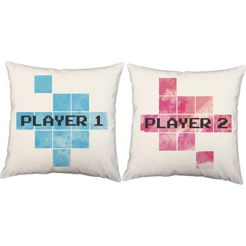 Player One Player Two Video Game Throw Pillows