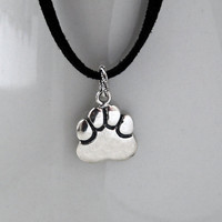 Handmade Sterling Silver Dog Paw Necklace, Sterling Silver Cat paw Necklace, Sterling Paw Necklace, Large Sterling Silver Dog Cat Paw Charm
