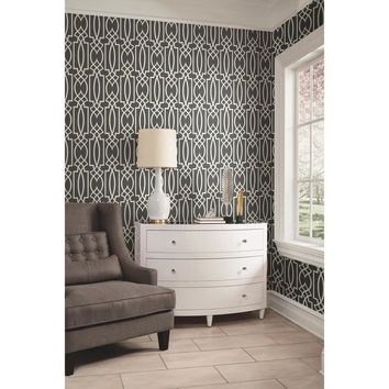 York Charcoal Gray Lattice Geometric Trellis Wallpaper