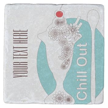 Chill Out - Vintage Style Ice Cream Sundae Funny Stone Coaster