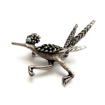 Vintage Roadrunner Brooch - Southwestern Style - Silver Tone Metal - Road Runner Bird - Cast Metal - Pewter Gray Grey - Turquoise Eye