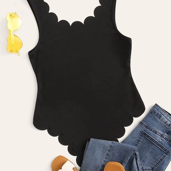 Plunging Neck Scallop Edge Solid Bodysuit