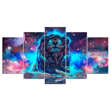 Abstract Nebula Lion Canvas Wall Art Print room decor poster picture Framed UNfr
