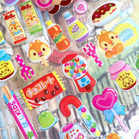 squirrel snack food stickers sweet candy soda coke chocolate Lollipop cute food epoxy sticker kids party food planner yummy cartoon food