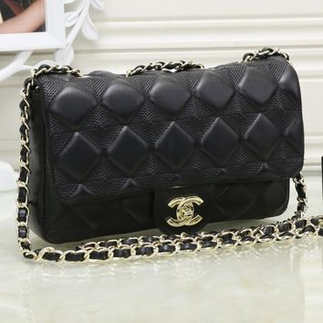 CHANEL Women Leather Shopping Chain Shoulder Bag Satchel Crossbody
