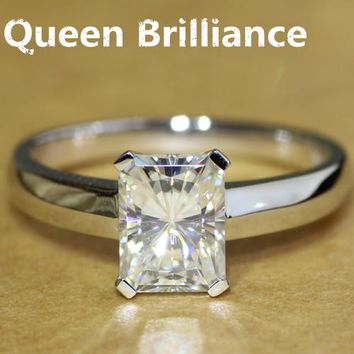 14KT White Gold Luxury Quality 1.8 Carat Radiant Cut Lab Diamond