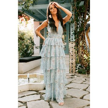 Spring Time Blossoms Tie Back Tiered Maxi Dress (Blue/Multi)