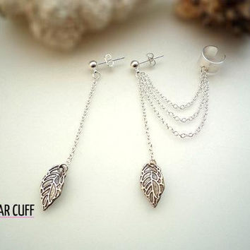 Simple Leaf Ear Cuff - Extra Stud With Chain And Leaf