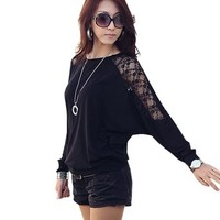 Womens Round Neck Mesh Decor Sleeve T-shirt