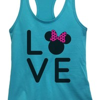 Womens Love Disney Grapahic Design Fitted Tank Top