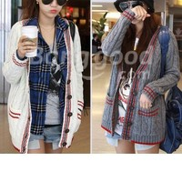 8566# Fashion Women's Knitwear Stripe Cardigan Sweater Free Shipping!  - US$22.67
