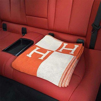 """Initial Letter H Cashmere Knitted Throw Blanket for Couch/Chair/Love Seat/Car Camping Blanket Shawl 55""""x63""""(Orange)FBA"""