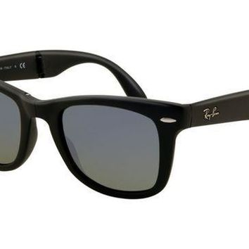 Ray Ban RB4105 Folding Wayfarer Sunglasses Matte Black Frame Cry