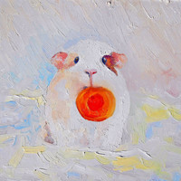 """Guinea Pig, Cavy, """"Bubu and a slice of carrot"""", Original Oil Painting, Impasto, Canvas, Hardboard,  Gift, Home Decor, Painting to Order"""