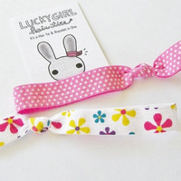 Spring Hair Tie, Spring FLoral or Pink Polka Dot by Lucky Girl