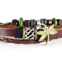 Dragonfly Leather Zen Bracelet, Fits 6 to 9 Inches in Gift Box