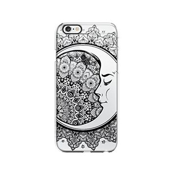 Crescent Moon Mandala Transparent Silicone Plastic Phone Case for iphone 7 _ LOKIshop (iphone 7)
