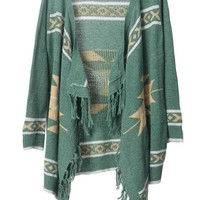 Bohemian fringed irregular cardigan green - Sheinside.com