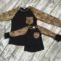 free shipping girls clothes baby girls kids icing ruffle raglan tops mom and me Raglan top black with leapord sleeve