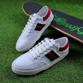Gucci Leather Non Reptile White Red Shoes Sneaker #1 - Beauty Ticks