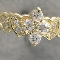 Genuine .32 ct Diamond Heart Design 14 kt White or Yellow Gold Ring Sizes 3-10