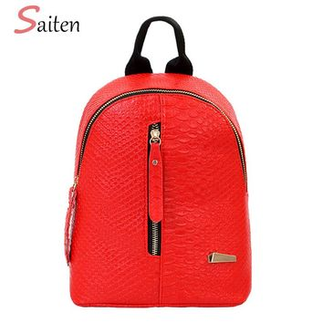Saiten High Quality PU Leather Women Backpack Crocodile Pattern Solid School Backpack Female Preppy Style Women Small School Bag