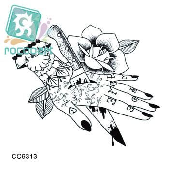 Rocooart CC6313 6X6cm Little Vintage Old School Style Kill my Hand Temporary Tattoo Sticker Body Art Water Transfer Fake Taty